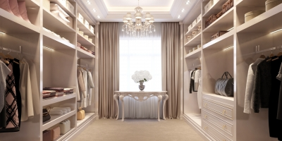 Beige luxury dressing room with crystal chandelier